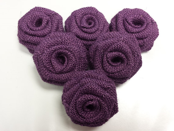 Dozen Burlap Flowers-Purple
